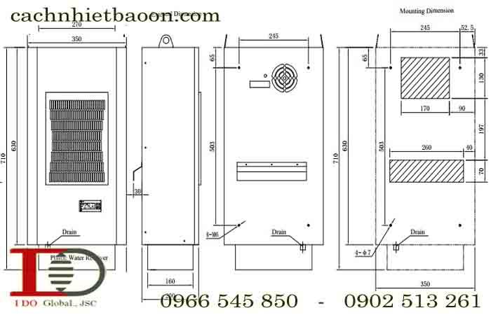 Kích thước lắp đặt Máy Điều hòa tủ điện - Máy làm mát tủ điện MCA06