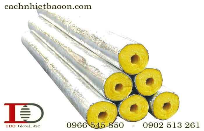 Bông thủy tinh dạng ống định hình có bạc